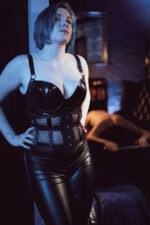 Sir Claire Black fishnet corset and latex